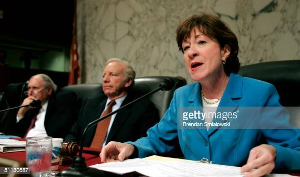 Senate Governmental Affairs Committee Ranking Member Joseph Lieberman and member Carl Levin listen to Chairman Susan M. Collins make comments during...