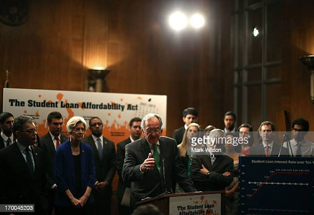 Senate Health Education Labor and Pensions Committee Chairman Tom Harkin speaks while flanked by Senate colleagues and students during a news...