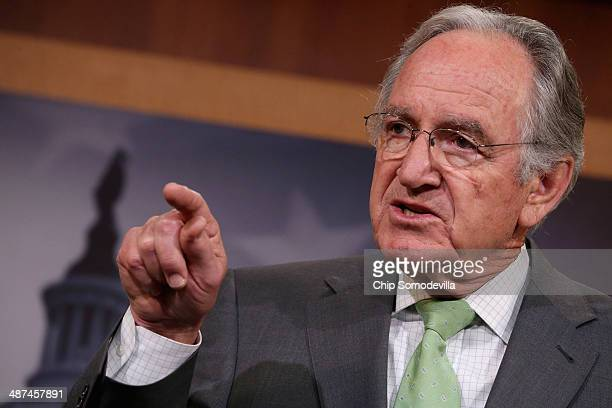 Senate Health Education Labor and Pensions Committee Chairman Tom Harkin answers reporters questions during a news conference at the US Capitol April...