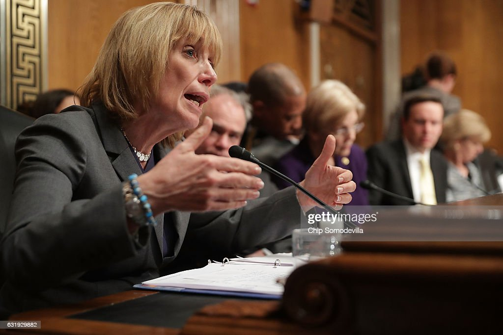 Senate Health, Education, Labor and Pensions Committee member Sen. Maggie Hassan (D-NH) questions Betsy DeVos, President-elect Donald Trump's pick to be the next Secretary of Education, during her confirmation hearing in the Dirksen Senate Office Building on Capitol Hill January 17, 2017 in Washington, DC. DeVos is known for her advocacy of school choice and education voucher programs and is a long-time leader of the Republican Party in Michigan.