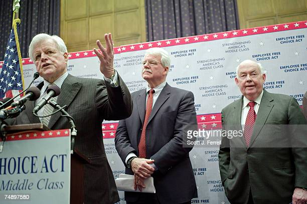 Senate HELP Committee Chairman Edward Kennedy DMass House Education and Labor Chairman George Miller DCalif and John Sweeney president of the AFLCIO...