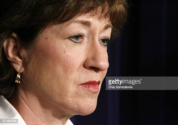 Senate Homeland Security and Government Affairs Committee Chairman Susan Collins holds a news conference to release findings and recommendations on...