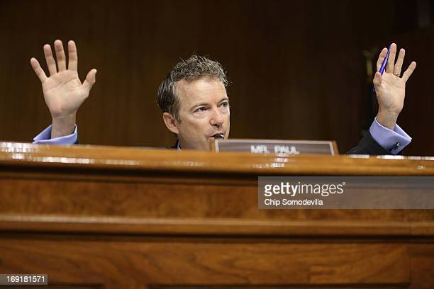 Senate Homeland Security and Governmental Affairs Committee's Investigations Subcommittee member Sen Rand Paul speaks during a hearing on US tax code...
