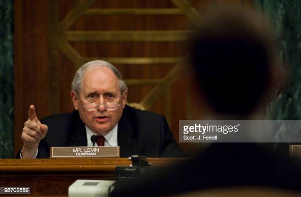 Senate Homeland Security and Governmental Affairs Subcommittee on Permanent Investigations Chairman Carl Levin DMich during the hearing on Wall...