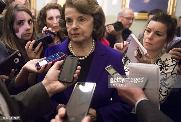 Senate Intelligence Chairwoman Dianne Feinstein , a Democrat from California, speaks to reporters about the committee's report on CIA interrogations...