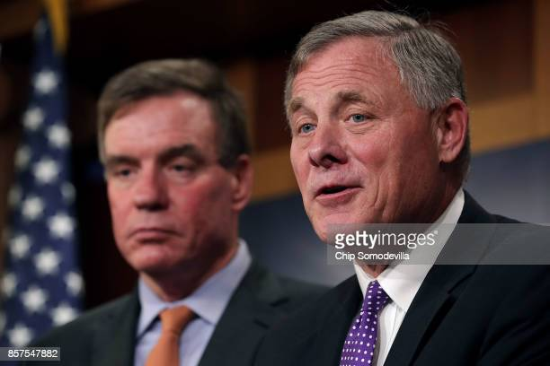 Senate Intelligence Committee Chairman Richard Burr and committee Vice Chair Mark Warner hold a news conference on the status of the committee's...