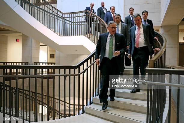 Senate Intelligence Committee Chairman Richard Burr and ranking member Sen Mark Warner arrive at the Senate Sensitive Compartmented Information...