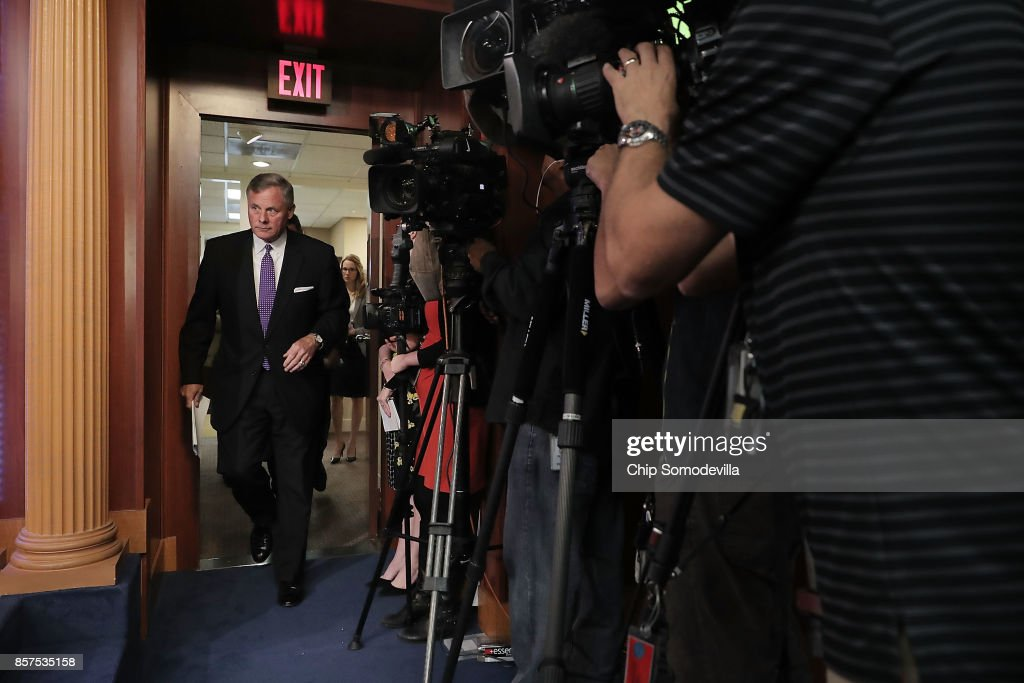 Senate Intelligence Committee Chairman Richard Burr (R-NC) arrives for a news conference on the status of the committee's inquiry into Russian interference in the 2016 presidential election at the U.S. Capitol October 4, 2017 in Washington, DC. Burr and committee Vice Chair Mark Warner (D-VA) said their investigation is continuing and that they trust the conclusions of the Obama Administration's intelligence community assessment (ICA).