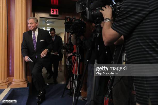 Senate Intelligence Committee Chairman Richard Burr arrives for a news conference on the status of the committee's inquiry into Russian interference...