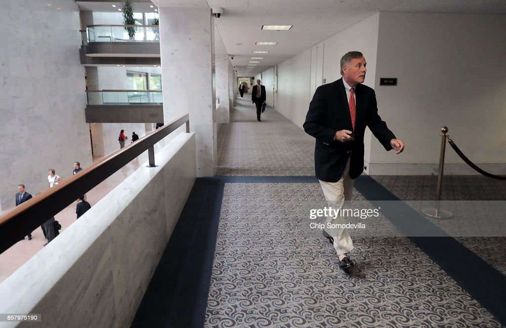 Senate Intelligence Committee Chairman Richard Burr (R-NC) arrives for a closed-door hearing in the Hart Senate Office Building on Capitol Hill October 5, 2017 in Washington, DC. None of the Intelligence Committee's members had anything to say to journalists about a report that Russian government-backed hackers stole U.S. secrets on how to penetrate foreign computer networks and protect against cyberattacks after a National Security Agency contractor put highly classified information on a home computer in 2015.