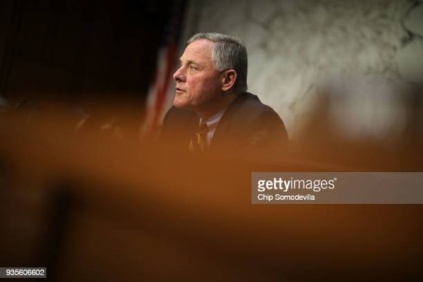 Senate Intelligence Committee Chairman Richard Burr delivers opening remarks during a committee hearing in the Hart Senate Office Building on Capitol...