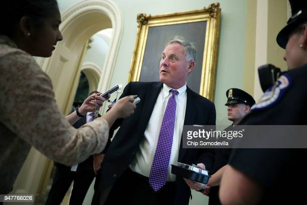 Senate Intelligence Committee Chairman Richard Burr talks with reporters before stepping into the weekly Republican policy luncheon at the US Capitol...