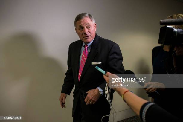 Senate Intelligence Committee Chairman Sen Richard Burr leaves a closed briefing on intelligence matters on Capitol Hill on December 4 2018 in...