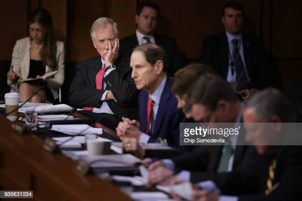 Senate Intelligence Committee member Sen Angus King listens to fellow committee memebrs question witnesses during a hearing in the Hart Senate Office...