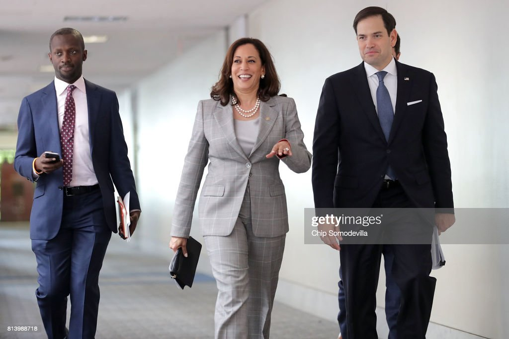 Senate Intelligence Committee members Sen. Kamala Harris (D-CA) (C) and Sen. Marco Rubio (R-FL) (R) arrive for a closed-door committee meeting in the Hart Senate Office Building on Capitol Hill July 13, 2017 in Washington, DC. Some members of the committee have demanded that Donald Trump, Jr. testify before the intelligence committee after it was revealed that he and Jared Kushner and Paul Manafort met with a Russian lawyer in hopes of getting opposition information on Hillary Clinton during the 2016 election.