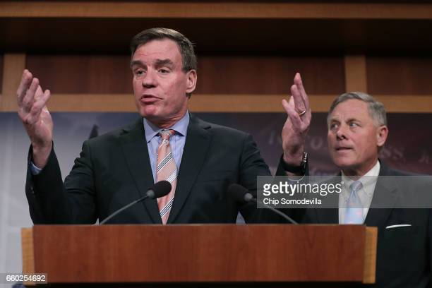 Senate Intelligence Committee ranking member Sen Mark Warner and Chairman Richard Burr hold a news conference about the committee's investigation...
