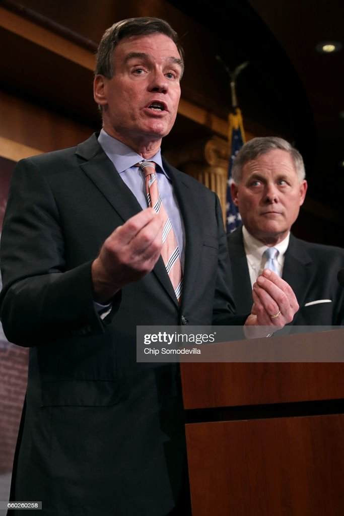 Senate Intelligence Committee ranking member Sen. Mark Warner (D-VA) (L) and Chairman Richard Burr (R-NC) hold a news conference about the committee's investigation into Russian interference into the 2016 presidential election at the U.S. Capitol March 29, 2017 in Washington, DC. The senators said that an unprecedented number of committee staff have been given access to information from the intelligence community during this investigation.
