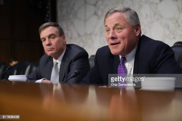 Senate Intelligence Committee ranking member Sen Mark Warner and Chairman Richard Burr make statements at the close of a hearing with intelligence...