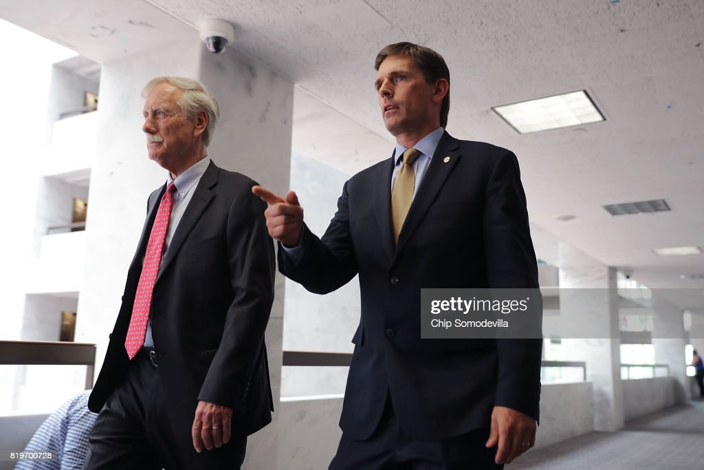Senate Intellignece Committee members Sen. Angus King (I-ME) (L) and Sen. Martin Heinrich (D-MN) arrive for a closed door session in the Hart Senate Office Building on Capitol Hill July 20, 2017 in Washington, DC. President Donald Trump's powerful son-in-law and White House adviser Jared Kushner is scheduled to will speak to the committee Monday.