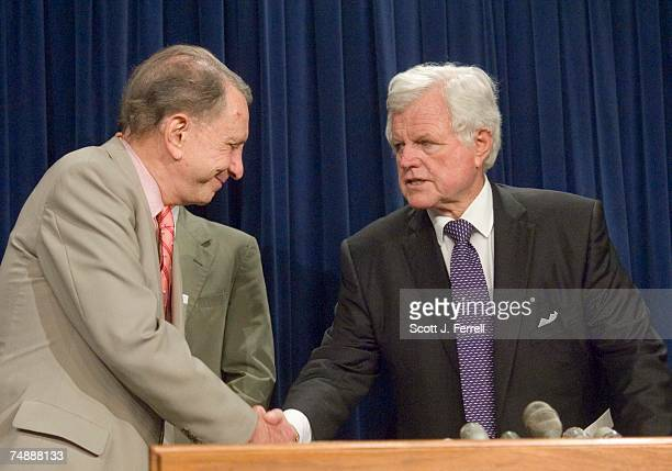 Senate Judiciary Chairman Arlen Specter RPa is congratulated by Sen Edward M Kennedy DMass during a news conference following the vote in the Senate...