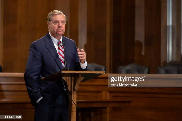 Senate Judiciary Chairman Lindsey Graham speaks at a news conference proposing legislation to address the crisis at the southern border at the US...