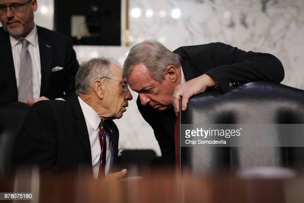 Senate Judiciary Committee Chairman Charles Grassley and committee member Sen Richard Durbin talk during a hearing in the Hart Senate Office Building...