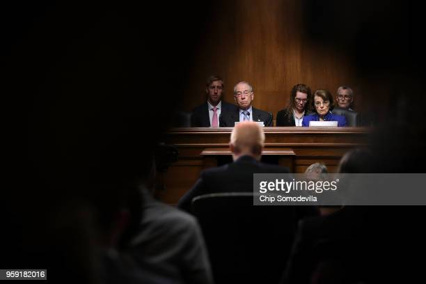 Senate Judiciary Committee Chairman Charles Grassley and ranking member Sen Dianne Feinstein hear testimony during a hearing about Cambridge...