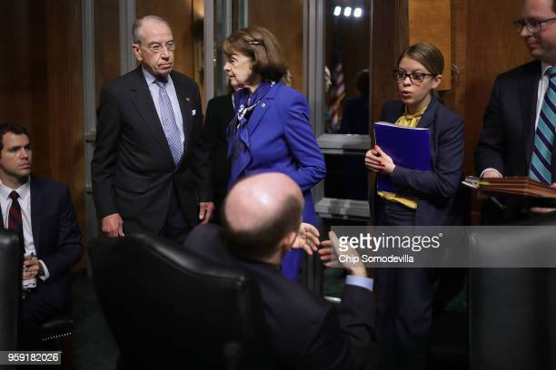 Senate Judiciary Committee Chairman Charles Grassley and ranking member Sen Dianne Feinstein prepare for a hearing about Cambridge Analytica and the...