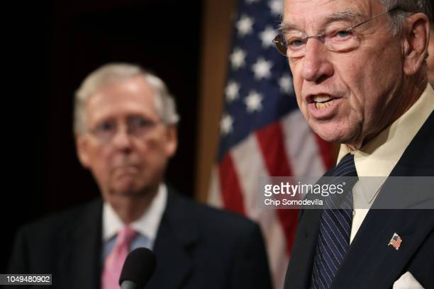 Senate Judiciary Committee Chairman Charles Grassley is joined by Senate Majority Leader Mitch McConnell for a news conference to discuss this week's...