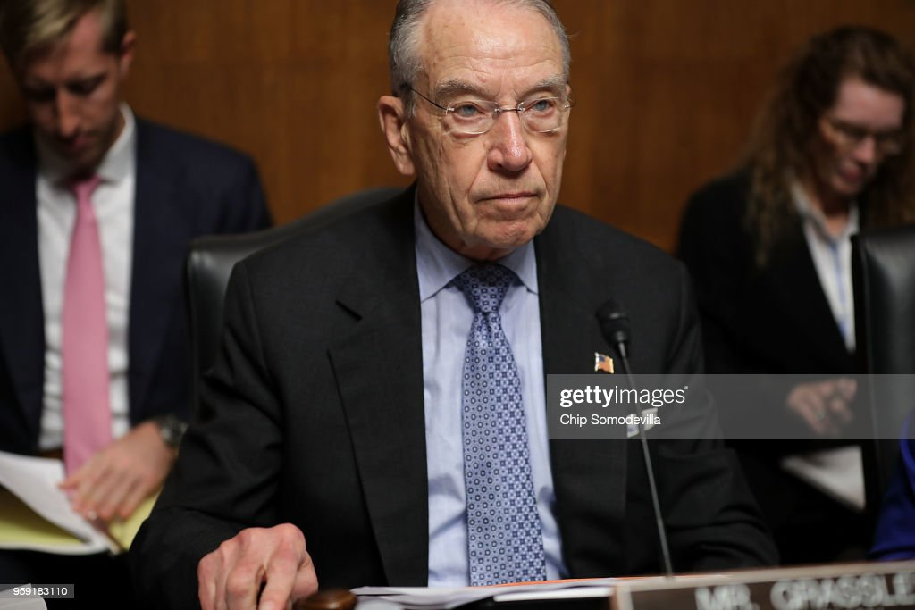 Senate Judiciary Committee Chairman Charles Grassley (R-IA) presides over a hearing about Cambridge Analytica and the future of data privacy in the Dirksen Senate Office Building on Capitol Hill May 16, 2018 in Washington, DC. Grassley and the Judiciary Committee released 2,000 pages of transcripts from interviews it conducted with Donald Trump Jr. and other participants of a June 2016 Trump Tower meeting.