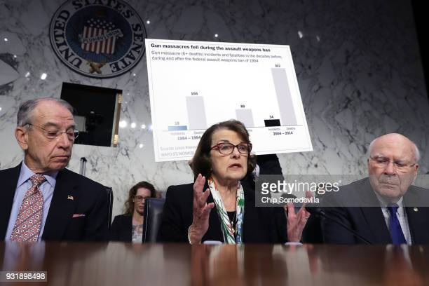 Senate Judiciary Committee Chairman Charles Grassley ranking member Sen Dianne Feinstein and Sen Patrick Leahy question witneses during a hearing...