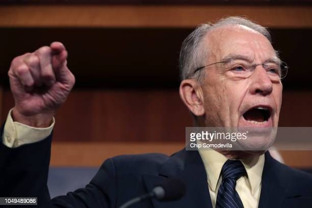 Senate Judiciary Committee Chairman Charles Grassley speaks during a news conference to discuss this week's FBI investigation into Supreme Court...