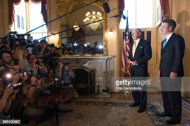 Senate Judiciary Committee Chairman Charles Grassley talks to the news media after meeting with Judge Brett Kavanaugh at the U.S. Capitol July 10,...