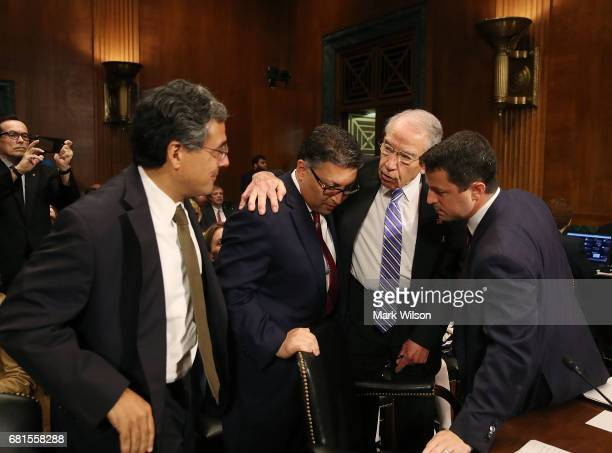 Senate Judiciary Committee Chairman Chuck Grassley greets Justice Department nominees Noel Francisco to be Solicitor General Makan Delrahim to be an...