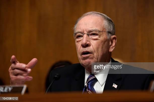 Senate Judiciary Committee Chairman Chuck Grassley, R-Iowa, presides over a hearing as Supreme Court nominee Brett Kavanaugh testifies before the...
