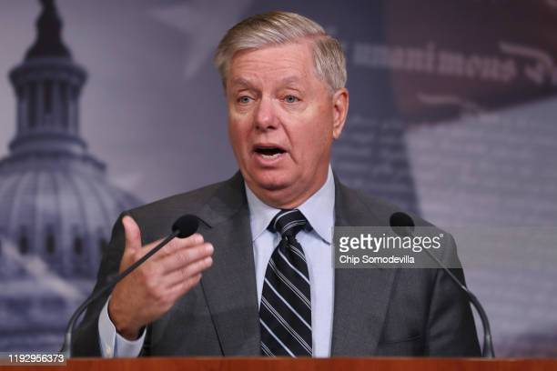 Senate Judiciary Committee Chairman Lindsey Graham holds a news conference following the release of the Department of Justice's inspector general...
