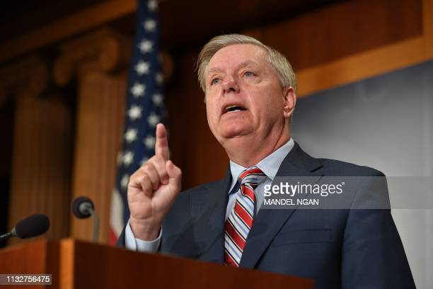 Senate Judiciary Committee Chairman Lindsey Graham, R-SC, speaks during a press conference on US Attorney General William Barr's summary of the...