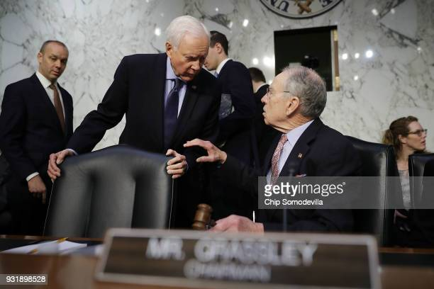 Senate Judiciary Committee Chairman member Sen Orrin Hatch talks with Chairman Charles Grassley before a hearing about the massacre at Marjory...
