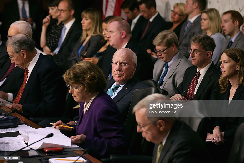 Senate Judiciary Committee Chairman Patrick Leahy (D-VT) (C) presides over a committee hearing about political donations and freedom of speech in the Hart Senate Office Building June 3, 2014 in Washington, DC. Liberal political groups delivered boxes of signed petitions calling for a campaign finance constitutional amendment and pushing for '...a proposed constitutional amendment to restore the ability of Congress and the states to regulate the raising and spending of money in elections.'