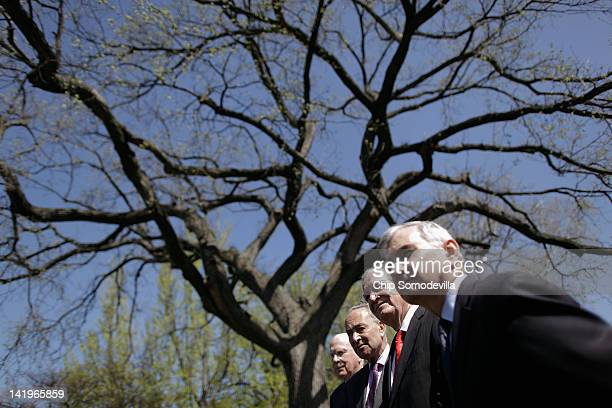 Senate Judiciary Committee Chairman Patrick Leahy Sen Charles Schumer Sen Tom Harkin and Sen Jack Reed hold a news conference outside the US Capitol...