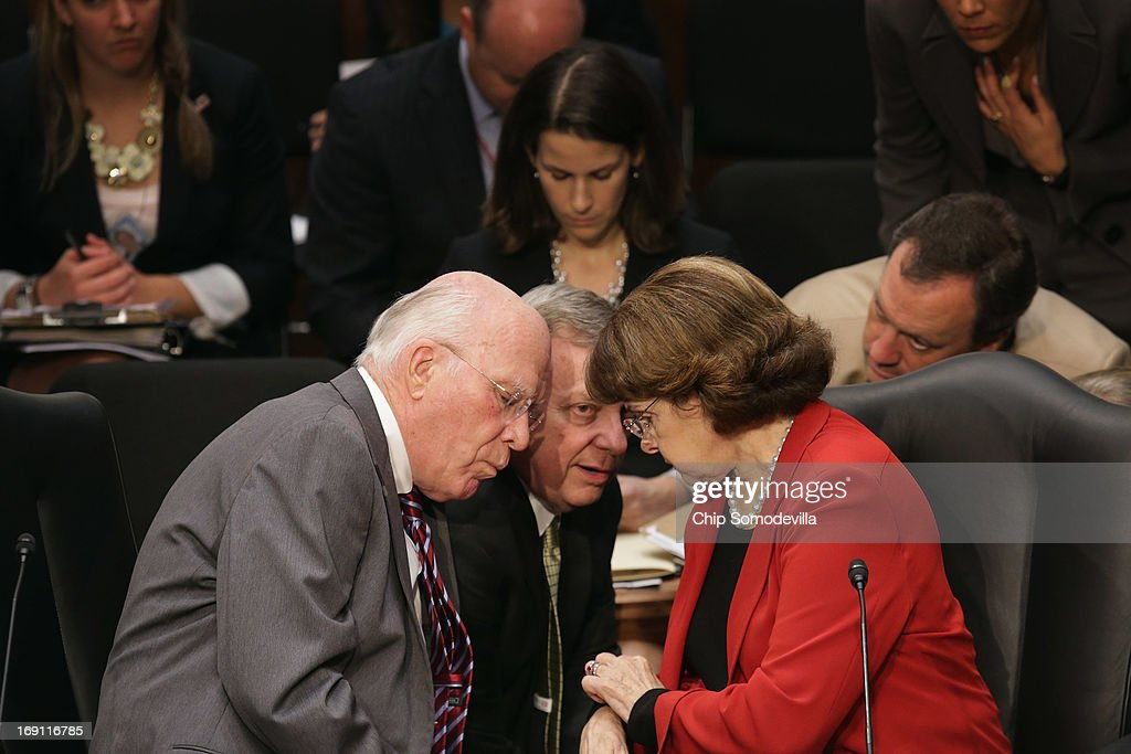 Senate Judiciary Committee Chairman Patrick Leahy (D-VT), Sen. Richard Durbin (D-IL) and Sen. Dianne Feinstein (D-CA) discuss negotiations with Republicans during a markup session for the immigration reform legislation now before the committee in the Hart Senate Office Building on Capitol Hill May 20, 2013 in Washington, DC. The Judiciary Committee is hoping to wrap up work on the landmark immigration reform bill this week after wading through the 300 amendments that were filed to the bipartisan bill.