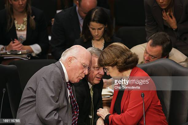 Senate Judiciary Committee Chairman Patrick Leahy Sen Richard Durbin and Sen Dianne Feinstein discuss negotiations with Republicans during a markup...