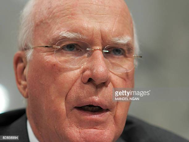 Senate Judiciary Committee Chairman Patrick Leahy speaks during the testimony of FBI Director Robert S Mueller before the Senate Judiciary Committee...