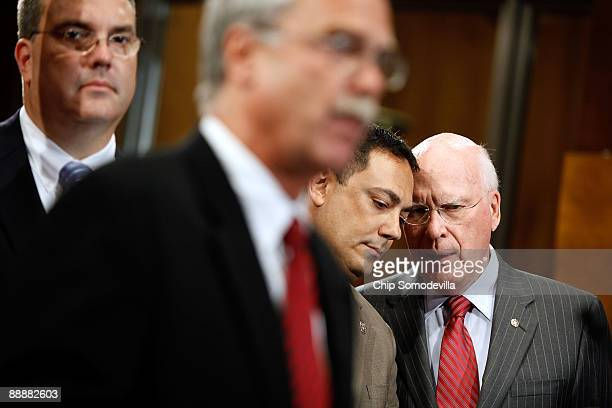 Senate Judiciary Committee Chairman Patrick Leahy talks with National Latino Peace Officers Association President and Austin, Texas, Police Chief Art...