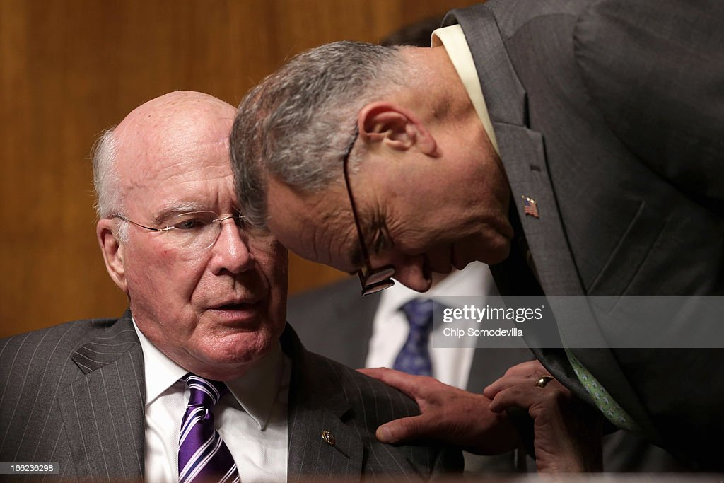 Senate Judiciary Committee Chairman Patrick Leahy (D-VT) (L) talks with Sen. Charles Schumer (D-NY) during the confirmation hearing for Principal Deputy Solicitor General of the United States Srikanth Srinivasan on Capitol Hill April 10, 2013 in Washington, DC. U.S. President Barack Obama has nominated Sirnivasan to be circuit judge for the United States Court of Appeals for the District of Columbia Circuit. A significant number of Supreme Court appointees were previously D.C. Circuit Court judges.