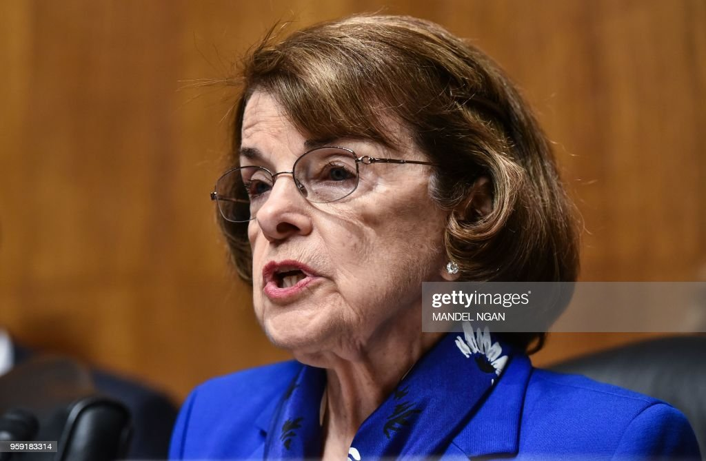 Senate Judiciary Committee Chairman Ranking Member Dianne Feinstein speaks during a Committee hearing on Cambridge Analytica and data privacy in the Dirksen Senate Office Building on Capitol Hill in Washington, DC on May 16, 2018.