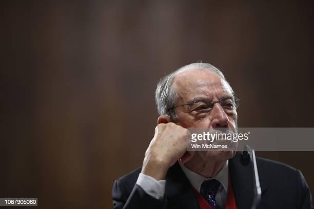 Senate Judiciary Committee Chairman Sen. Chuck Grassley attends a committee hearing on Capitol Hill November 15, 2018 in Washington, DC. Sen. Jeff...