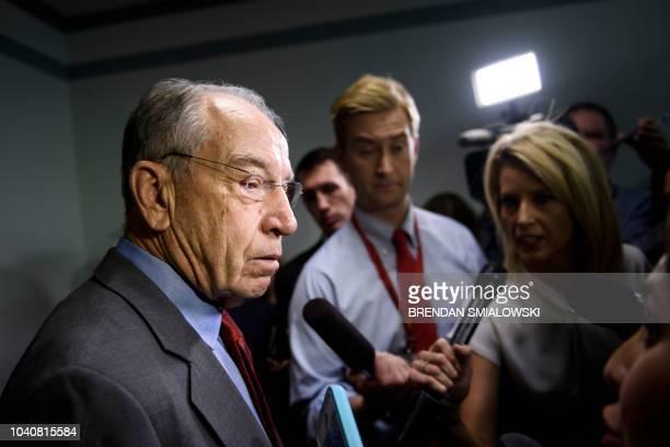 Senate Judiciary Committee Chairman Senator Chuck Grassley speaks to reporters about Judge Brett Kavanaugh on Capitol Hill September 26, 2018 in...
