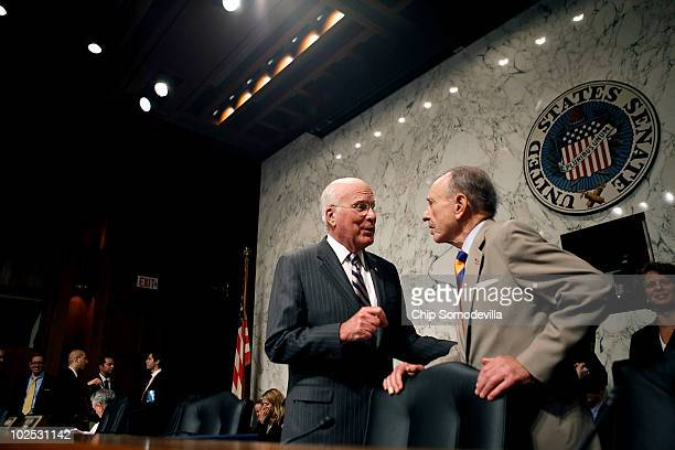 Senate Judiciary Committee Chairman U.S. Sen. Patrick Leahy confers with U.S. Sen. Arlen Specter during the second day of confirmation hearings for...