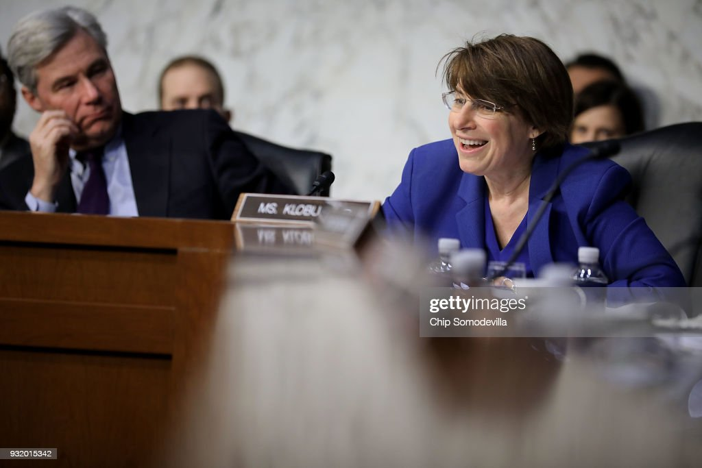 Senate Judiciary Committee member Amy Klobuchar (D-MN) (R) questions witnesses during a hearing about the massacre at Marjory Stoneman Douglas High School in the Hart Senate Office Building on Capitol Hill March 14, 2018 in Washington, DC. Acting Deputy Director of the Federal Bureau of Investigation David Bowdich testified that the FBI could have and should have done more to stop the school shooter Nikolas Cruz after it receieved several tips about him.